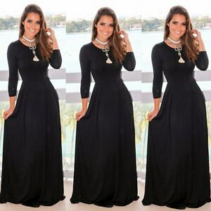 6999fc0ebff5c Women's Casual Long Maxi Dress Long Sleeve Evening Party Cocktail ...