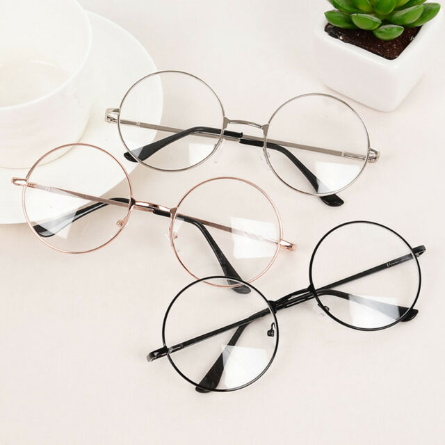 97a696e5a Unisex Big Round Metal Frame Clear Lens Vintage Retro Geek Fashion Glasses  Black for sale online   eBay