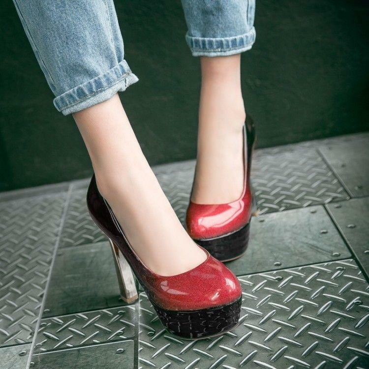 Fashion High Heels Pumps Round Toe Platform Sexy Glitter Women's shoes Nightclub