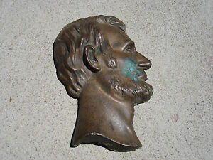 "Antique Bronze Old plaque of President Abraham Lincoln 7"" x 4 5/8"" Beautiful"