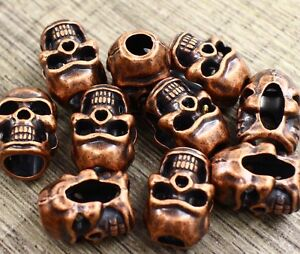 Image Is Loading Skull Bead Lot 10 L Double Face Copper