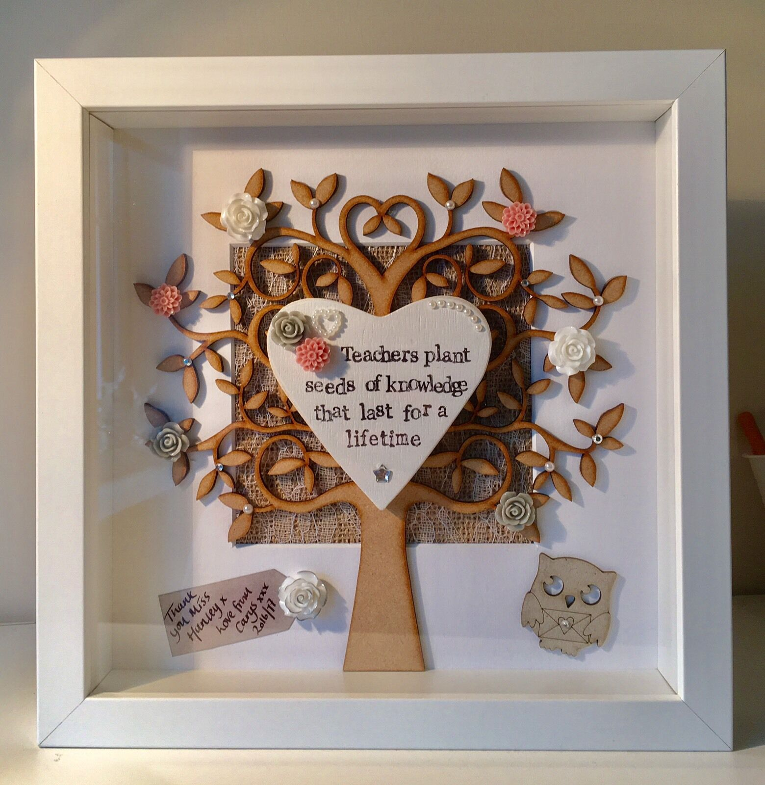 Personalised Frame Gift - Teacher Hearts Wedding Birthday Anniversary Baby