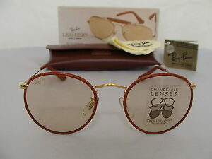 6ea5679d3e New Vintage B L Ray Ban Round Metal Leathers Med Brown Changeable ...