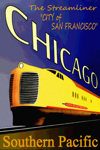 CITY of SAN FRANCISCO Train Poster Southern Pacific Railroad Retro Art Print 040