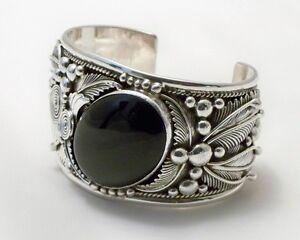 Image Is Loading Navajo Boy Black Onyx Sterling Silver Bracelet