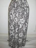 Long Maxi Stetchy Black & White Mono Floral Print Skirt Plus Size 20+ Bnwot Hols