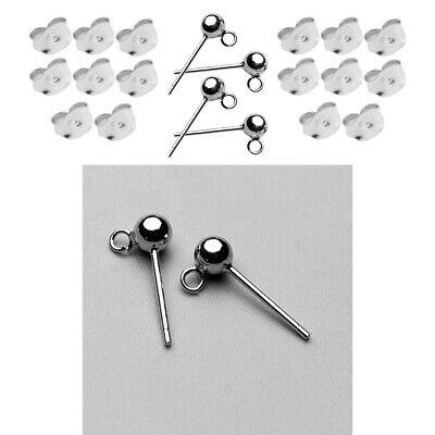 20Pcs DIY Craft 925 Sterling Silver Ear Stud Pin Earrings Posts Flat Pad