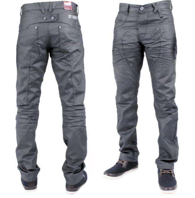 Hommes Enzo EZ215 Denim Gris Jeans Coupe Droite Homme Pantalon Taille Taille 28 - 46
