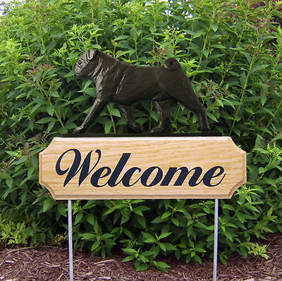Pug Dog Breed Oak Wood Welcome Outdoor Yard Sign Black