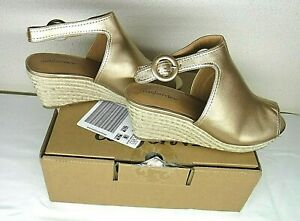 New-Comfortview-Jaydee-Gold-Espadrille-Size-11WW-Memory-Foam-Insole-Trendy-Wedge