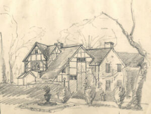 Marcus Adams - Early 20th Century Graphite Drawing, House