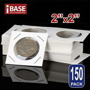 """150x Staple Coin Holder 2""""x2"""" Display Clear Window Storage Protect Cent 35mm  714439064037"""