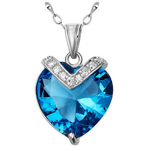 Sterling-Silver-10-84-ct-Created-Blue-Topaz-Heart-Cut-Gemstone-Pendant-Necklace