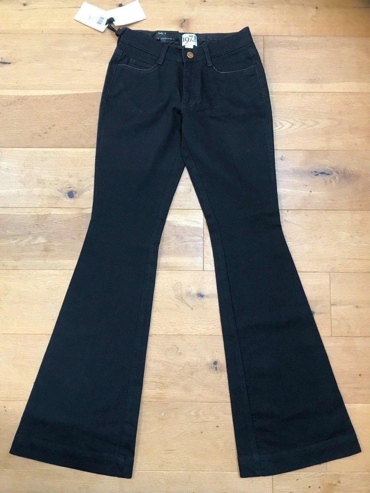 1971 Reiss Ladies schwarz Dolly Kick Flare Low Rise Stretch Jeans UK 4
