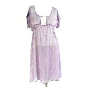 I-Heart-Ronson-Womens-Dress-Small-Purple-Pink-Striped-Sheer-Empire-Waist-Casual