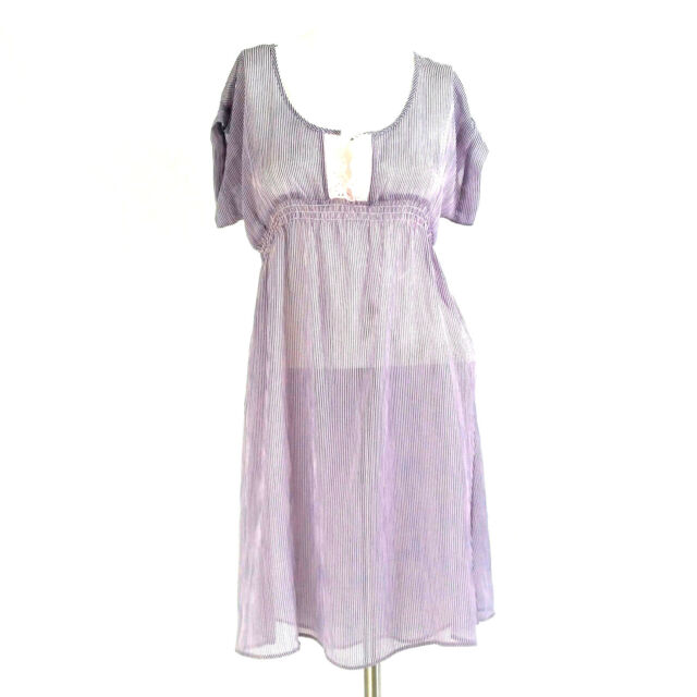 I Heart Ronson Womens Dress Small Purple Pink Striped Sheer Empire Waist Casual