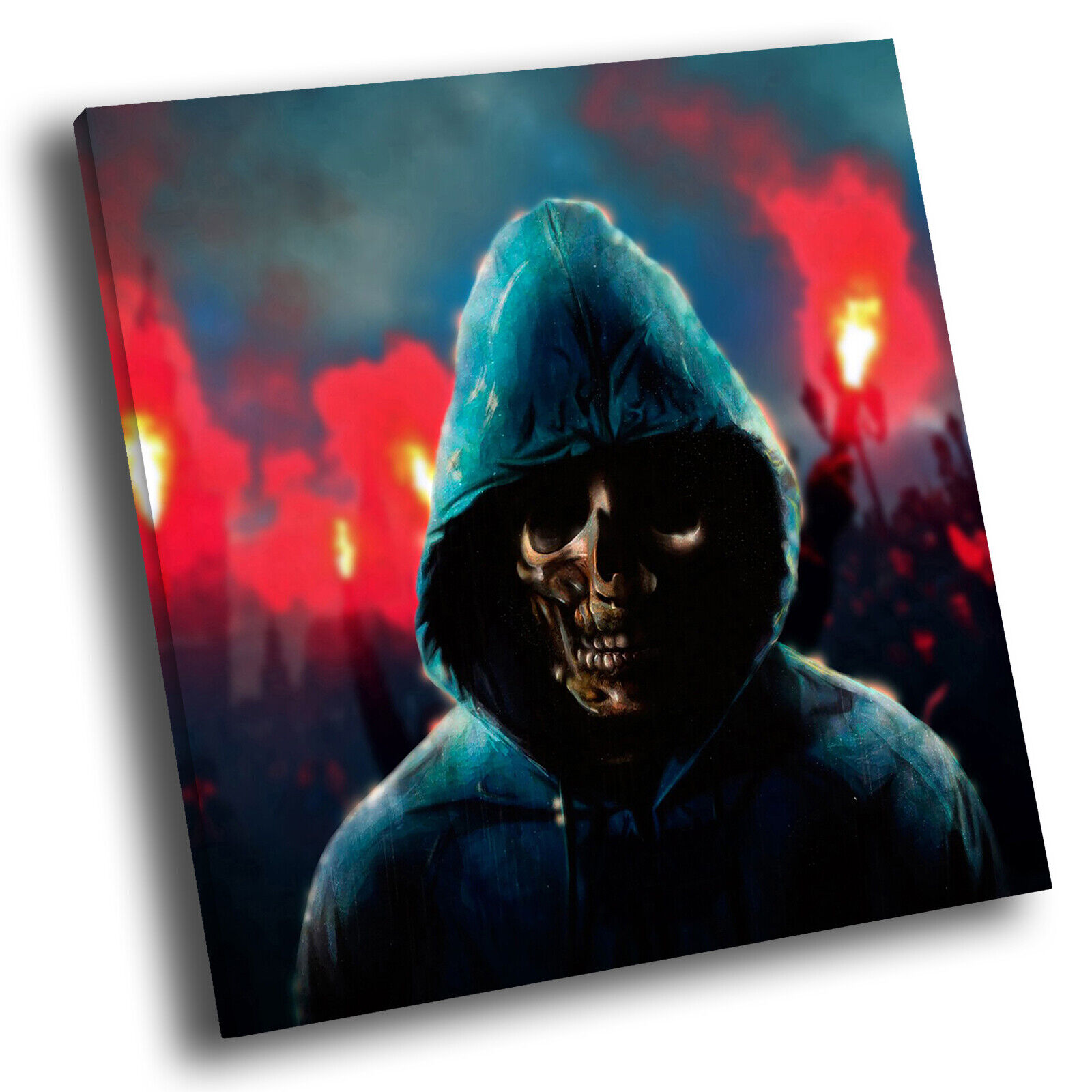 Blau rot Skull Gothic Square Abstract Photo Canvas Wall Art Large Picture Prints