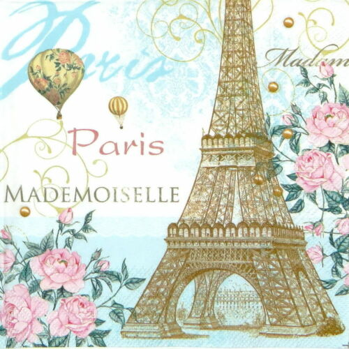 flowers Paris balloon -58 Pink pastel 4 Single paper decoupage napkins