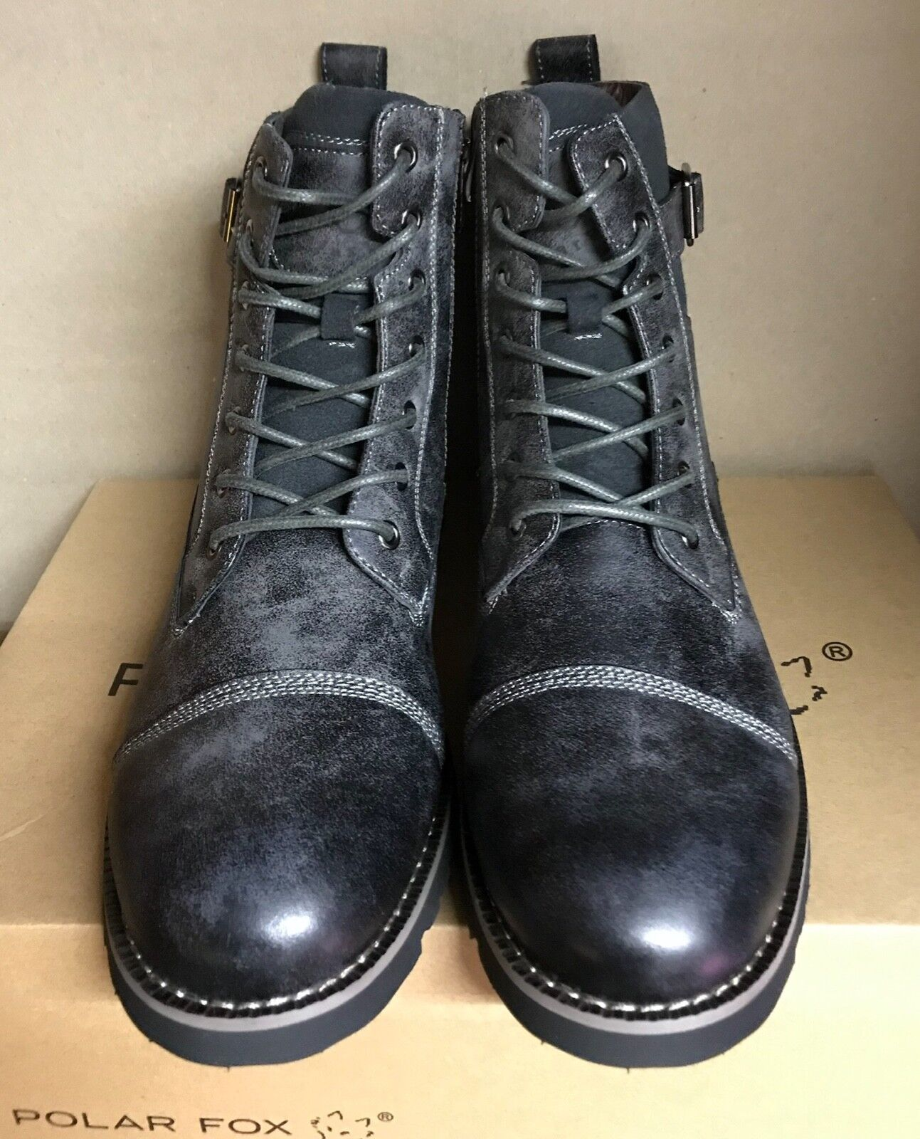 Mens Polar Fox Patrick Lace-Up Side Zip Combat Boots Grey Sz 9 NEW
