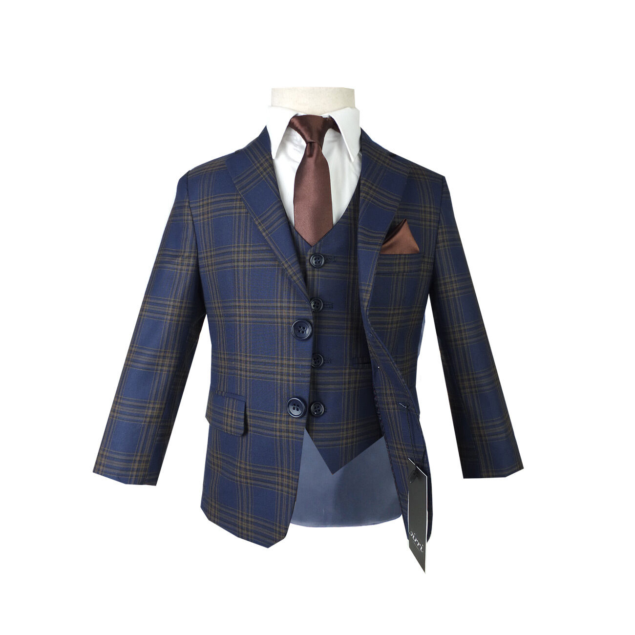 Boys Navy Brown Checkered Blue Suit Page boy Communion Prom ...