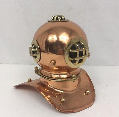 Vintage Copper And Brass Marine Divers Diving Helmet Reproduction Mini Helmet