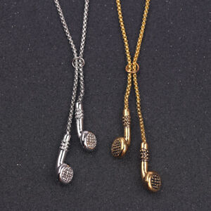 Fashion-Jewelry-Men-039-s-Long-ChainHip-Hop-Music-Headphone-Pendant-Necklace-Gift-UK