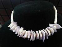 Blair's Handmade Made In Hawaii Beaded White Purple Seashell Necklace 15.5''