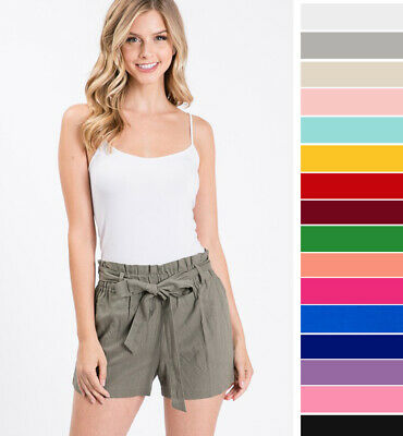 Women's Linen High Waist Shorts Paperbag Belted Tie Front Pockets Solid Casual  | eBay