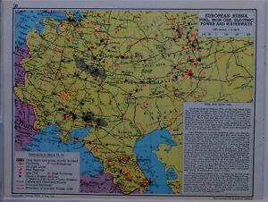 1961-SOVIET-MAP-EUROPEAN-RUSSIA-FUELIRON-ORE-ELECTRIC-POWER-WATERWAYS-COAL-FIELD