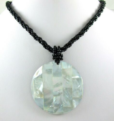 Natural Mosaïque Nacre Coquillage Pendentif Perles Collier Femmes Bijoux BA152