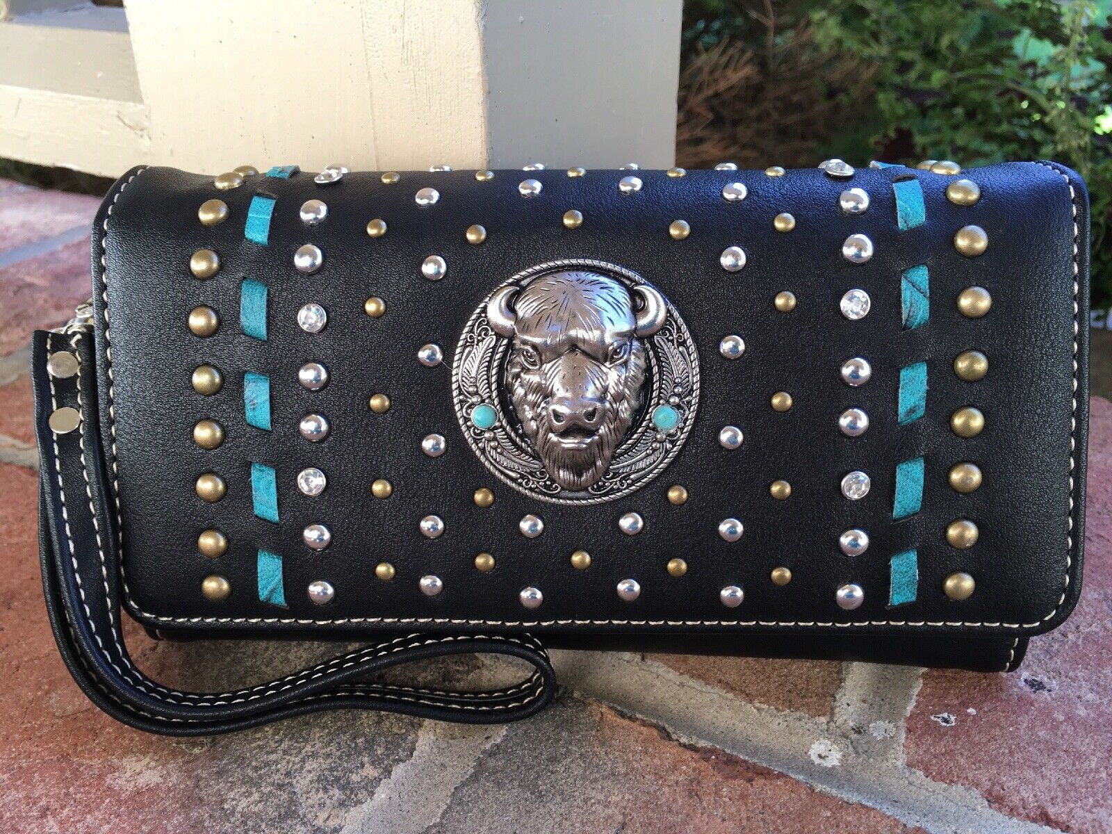Montana West Concho Stud Collection Wallet Black PU Leather Blue/Black