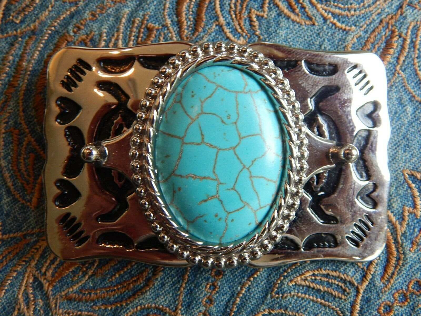 NEW TURQUOISE COLOUR BELT BUCKLE SILVERCOLOUR METAL GOTH WEDDING GROOM