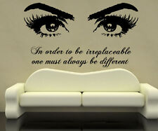 Eyes Wall Decals Quote In Order Vinyl Stickers Beauty Salon Art Home Decor SM91