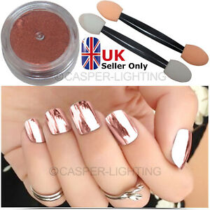Chrome Rose Gold Effect Nail Powder Gel Polish Foil Nails Art