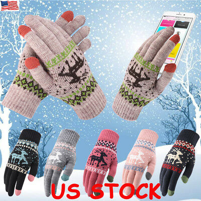 Men Snowflake Touch Screen Glove Knit Warm Thermal Cold Weather Winter Gloves