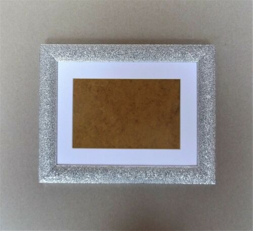 """Silver Sparkly Photo Frame with White Mount for 7 x 5/""""//5 x 7/"""" Photo//Print"""