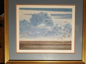 Jim-Harrison-Signed-Framed-Matted-Print-034-Geese-Over-Marsh-034