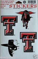 Texas Tech University Decal 4 Large Stickers Sheet
