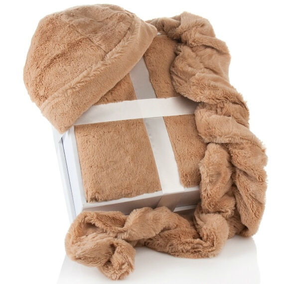 Highgate Manor Long Faux Fur Throw Hat and Scarf 3-Piece Gift Set