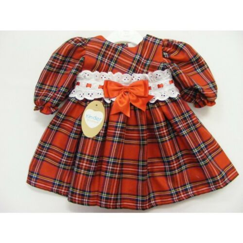 Baby /& Girls Spanish Style Tartan Broderie Anglaise /& Bow Waist Dress Up to 4 Y