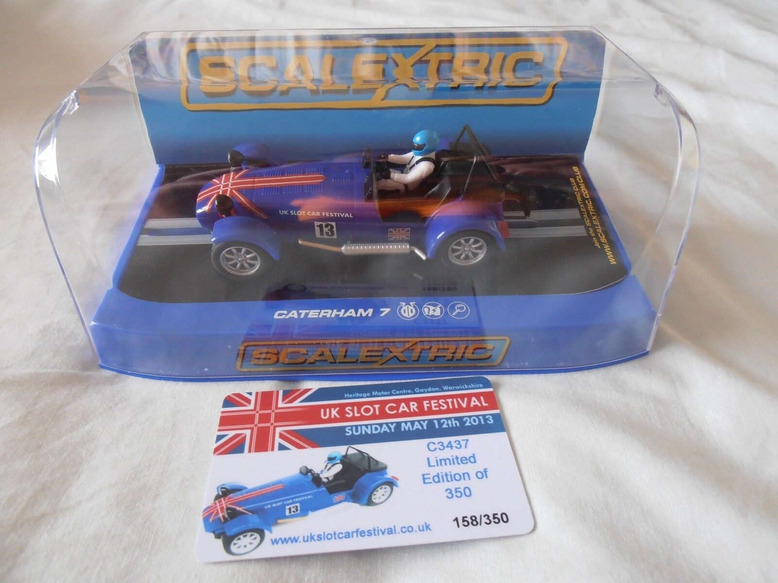 SCALEXTRIC C3437 Caterham 7 Slot Car Festival Car 2013 NEW 350 limited edition
