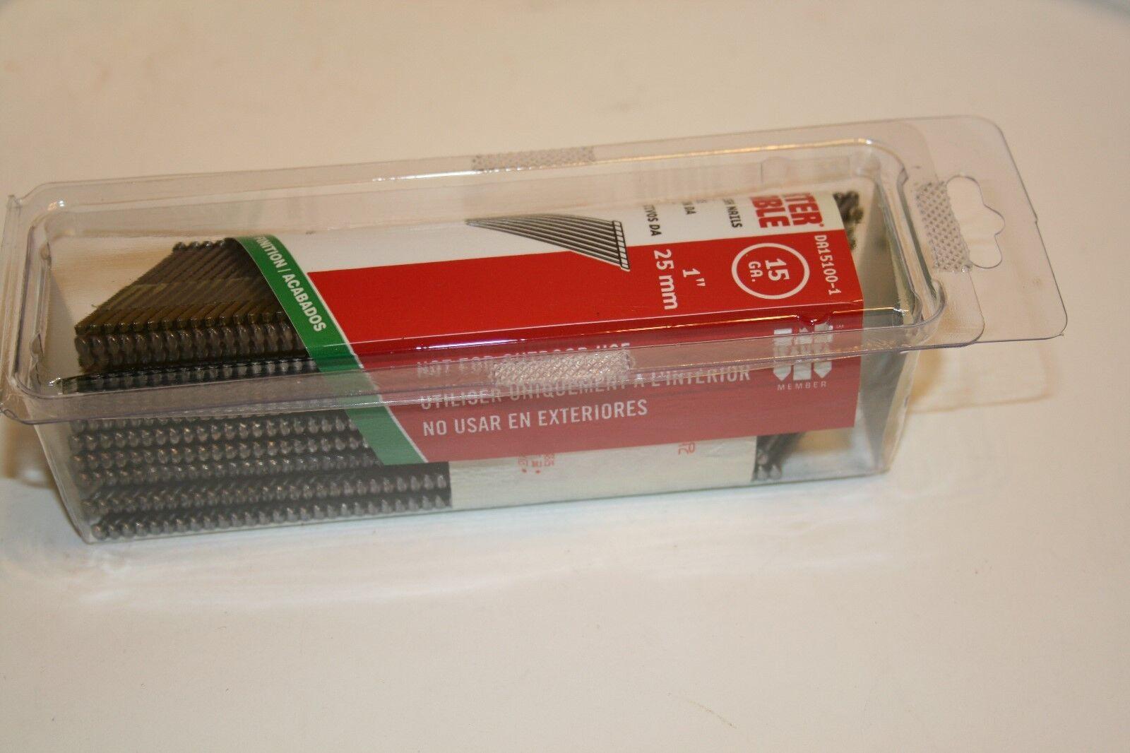 NEW Porter Cable DA15100-1 Finish Nails 15 GA 1 inch 25mm 1000 nails in box