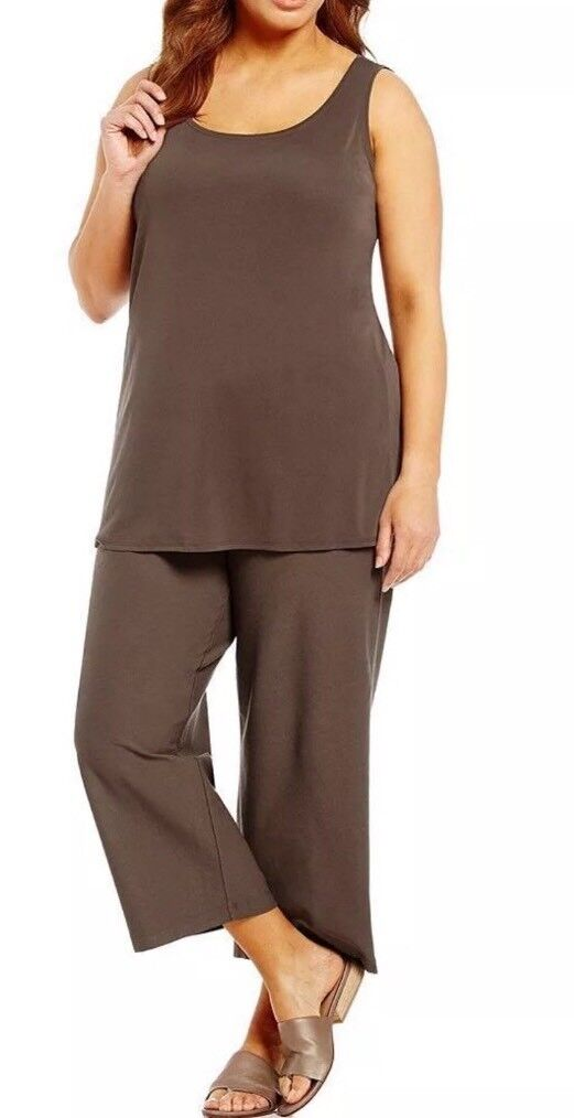 LARGE EILEEN FISHER Cobblestone Washable Stretch Crepe Wide Leg Cropped Pant NWT