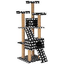 Arbre à chat griffoir grattoir jouet geant 2 grottes 169cm chats noir pattes