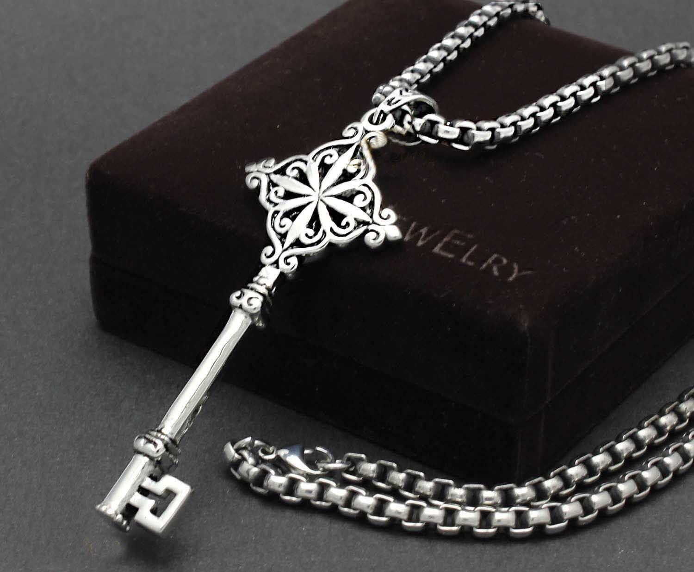 Men S Silver 316l Stainless Steel Unique Huge Key Pendant