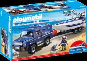 Playmobil 5187 - Coche de Policía con Lancha - NUEVO