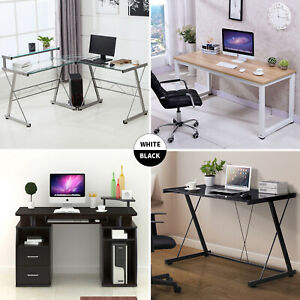Details About Pc Computer Desk Laptop Table Study Workstation Home Office Furniture W Shelf