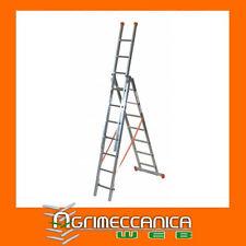 Scala alluminio Facal - 3 rampe x 7 gradini,  5,10 mt - telescopica allungabile