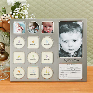 image is loading my first year baby pewter photo picture collage - My First Year Picture Frame