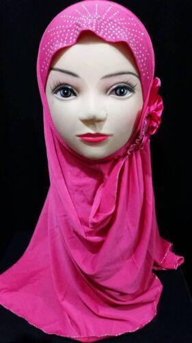 Donne Ragazze Bambini One Piece Perla Perlina Floreale Sciarpa Cappello Islamico Musulmano Hijab